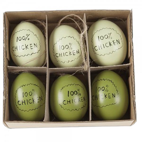6 Eier echt mit Aufdruck 100% Chicken