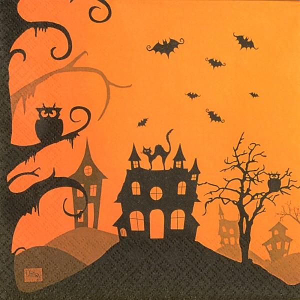 Servietten Halloween orange-schwarz, 20 Stück 33 cm