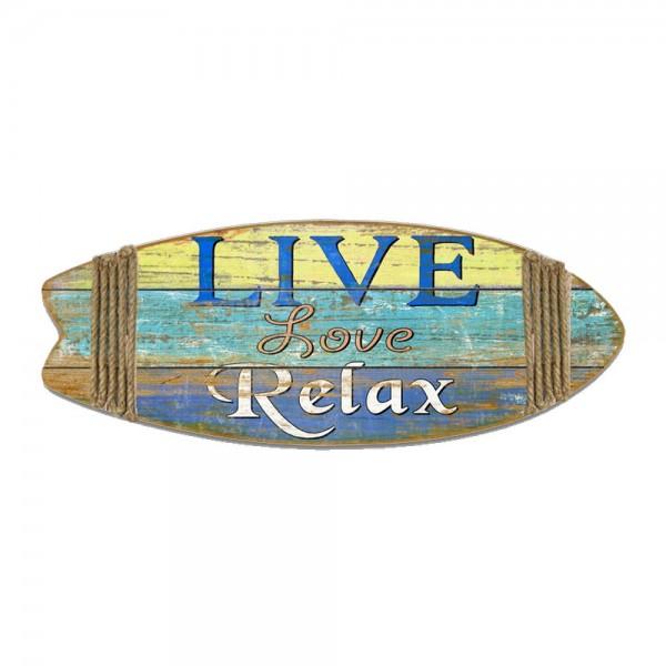 Surfbrett Live Love Relax blau/gelb, B 85 x T 2,5 x H 33