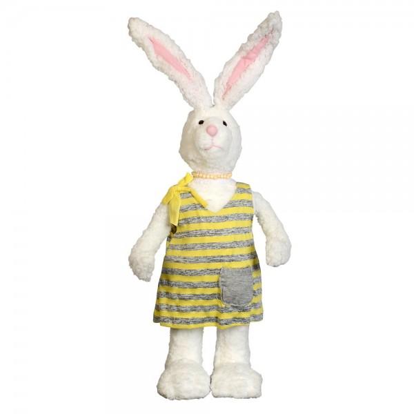 Hase Wolle im Stoffkleid, 60 cm