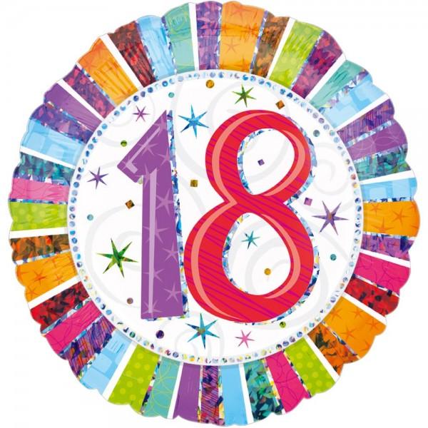 Folienballon Geburtstagszahl Zahl 18, Ø 45 cm