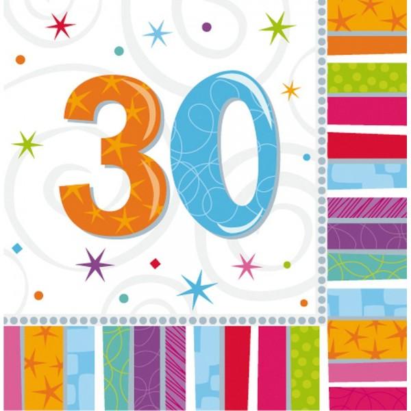 Servietten Geburtstagszahlen Zahl 30, 33 x 33 cm, 16 Stück