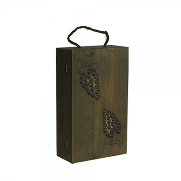Holzkiste für 2 Weinflaschen grün, 10 x 21 x 35 cm