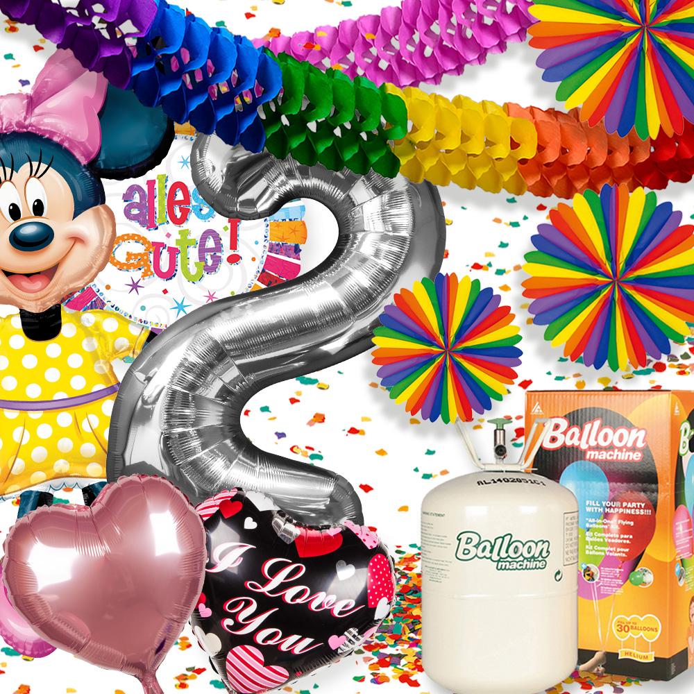 Partydekoration mit Folienluftballons, Motivluftballons und Ballongas