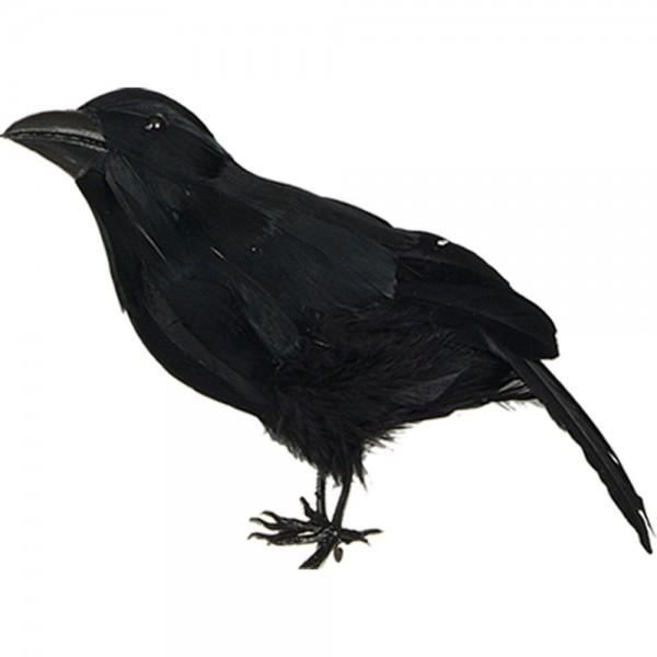 Krähe Tierattrappe stehend schwarz, 18 x 15 cm
