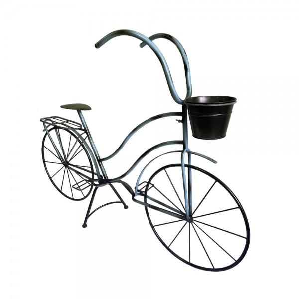 Fahrrad Metall Deko XL grau/blau-vintage, L 113 x H 82