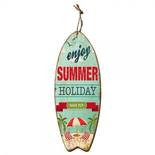 Surfbrett enjoy Summer Holiday bunt, B 30 x T 1,8 x H 78 cm