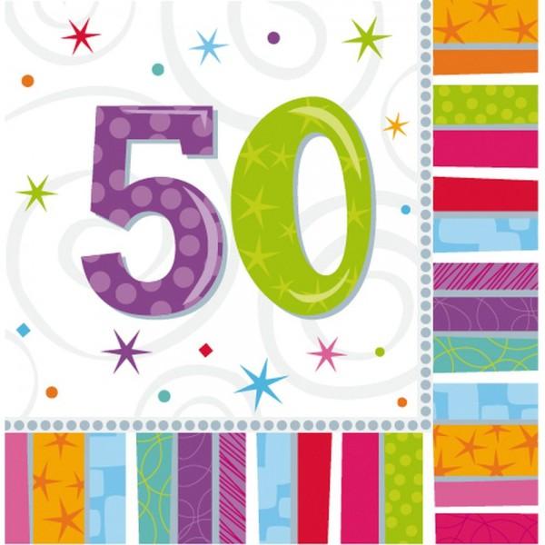 Servietten Geburtstagszahlen Zahl 50, 33 x 33 cm, 16 Stück