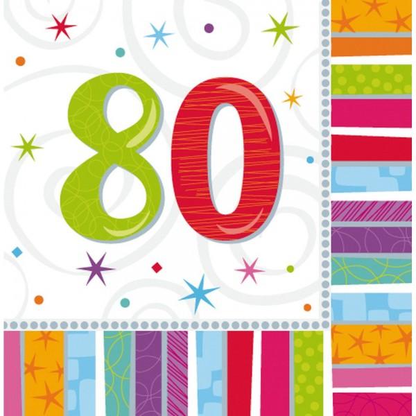 Servietten Geburtstagszahlen Zahl 80, 33 x 33 cm, 16 Stück