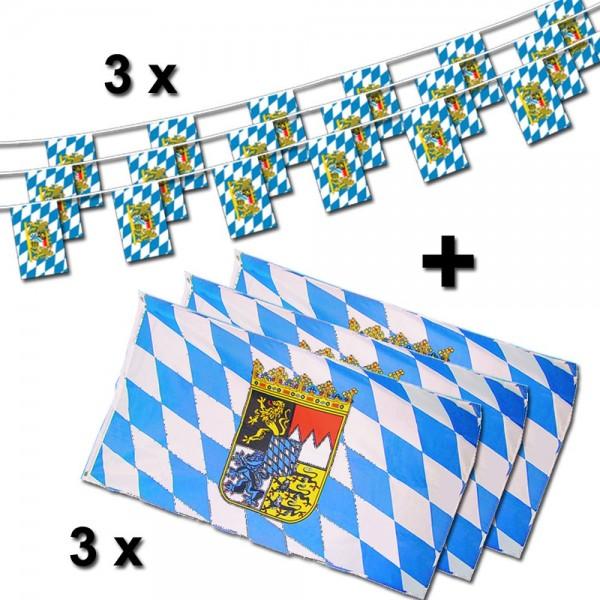 Bayern+Wappen Flaggenset 6-teilig, 3 x Flagge, 3 x Fahnenkette