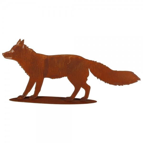 Fuchs auf Platte Metall/Rosteffekt, 100 x 45 cm