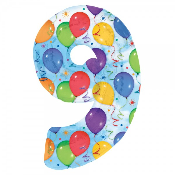 Folienballon XL Zahl bunte Ballons, Zahl 9