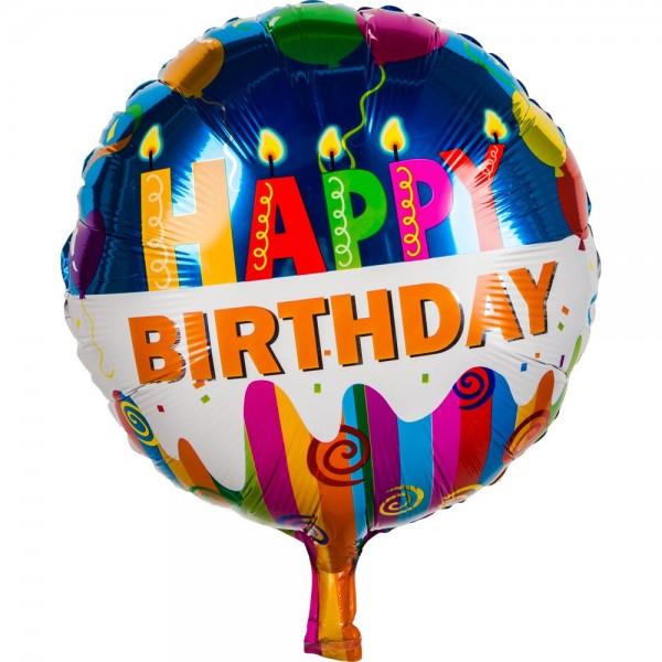 Folienballon Happy Birthday rund Kerzen, 45 cm
