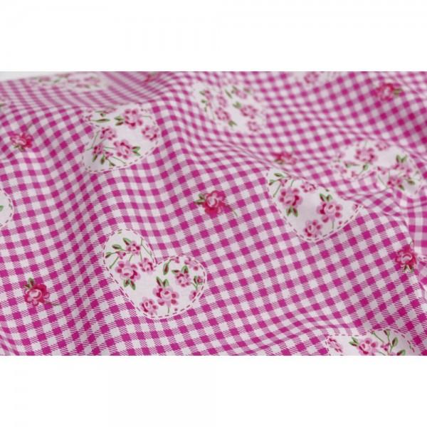 Karostoff mit Herzen pink, 140 cm breit