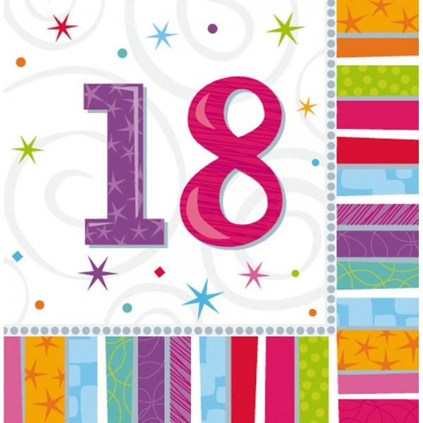 Servietten Geburtstagszahlen Zahl 18, 33 x 33 cm, 16 Stück