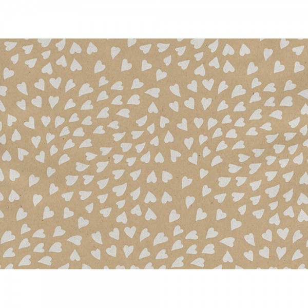 Geschenkpapier Herzen Kraft natur/weiß, 50 cm x 50 m