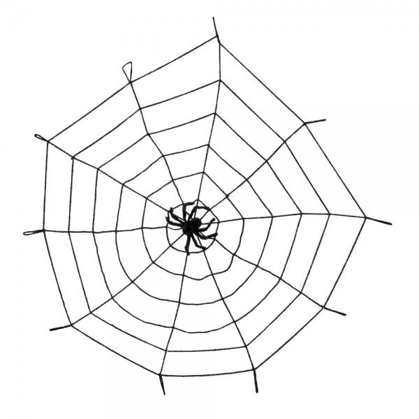 Spinnennetz XL mit Spinne schwarz,Ø 150 cm