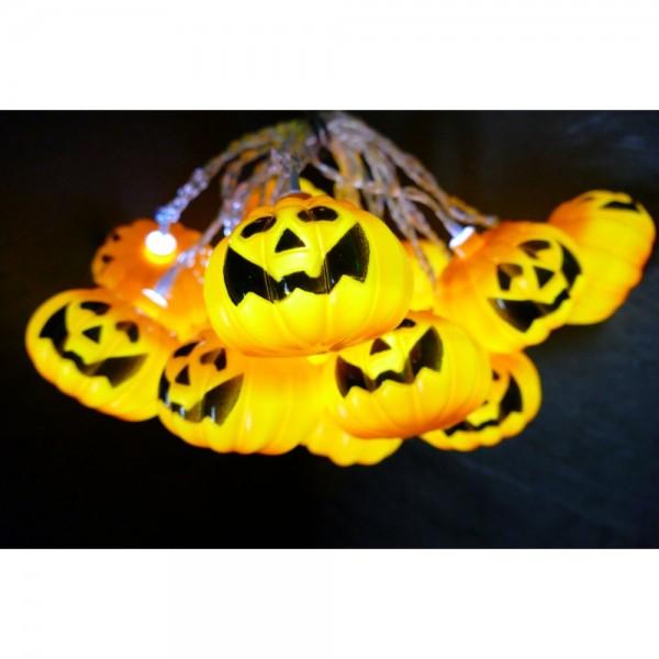 Halloween Lichterkette 3 x AA orange, kalt-weiß,1,9 M + 0,3