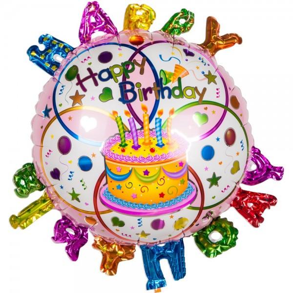 Folienballon Happy Birthday 3D Schrift, 45 cm