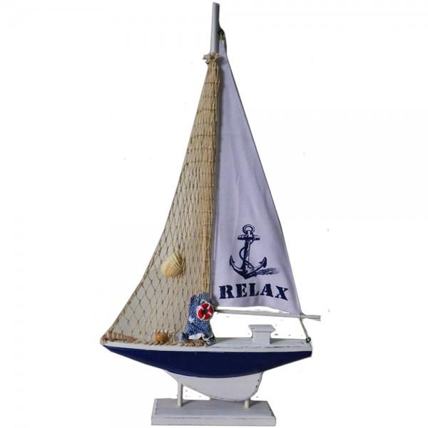 Segelschiffchen Figur aus Holz, 57 cm