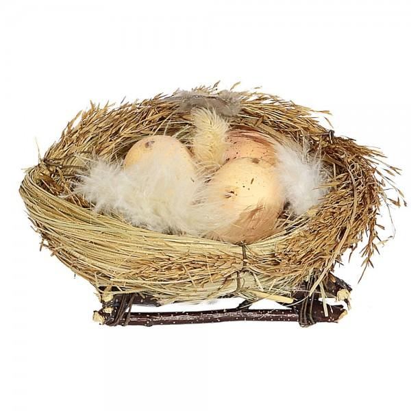 Nest mit 3 Eiern + Federn Ø 12 cm