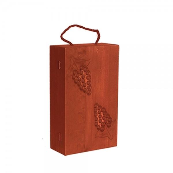 Holzkiste für 1 Weinflasche rot, 10 x 21 x 35 cm