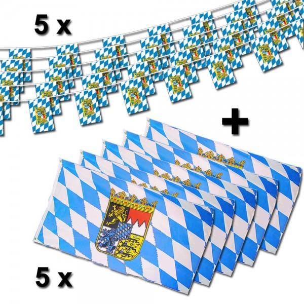 Bayern+Wappen Flaggenset 10-teilig, 5 x Flagge, 5 x Fahnenkette