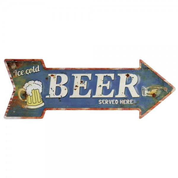 Wegweiser Beer Metallpfeil, 40 x 14 cm