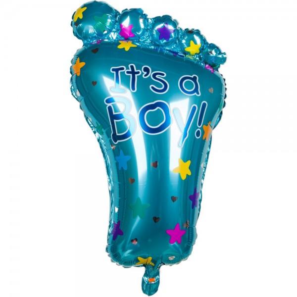 Folienballon Baby Fuß mit Zehen Junge blau, 72 cm