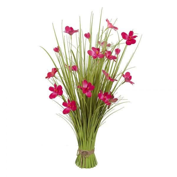 Grasbund mit Blüten grün/pink, H 80 cm, Ø 50 cm