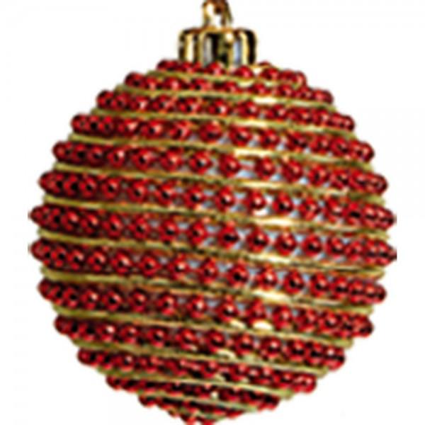 Perlenkugeln 6 Stück rot-gold, Ø 6 cm