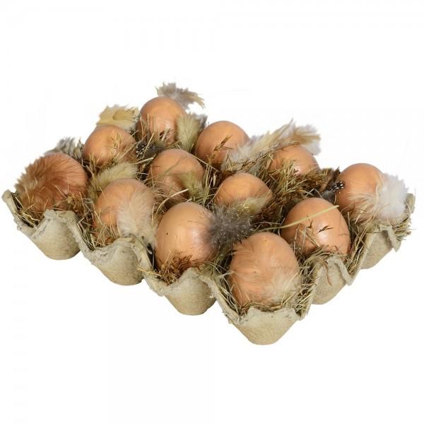 1 Dutzend Eier mit Federn und Gras im Eierkarton