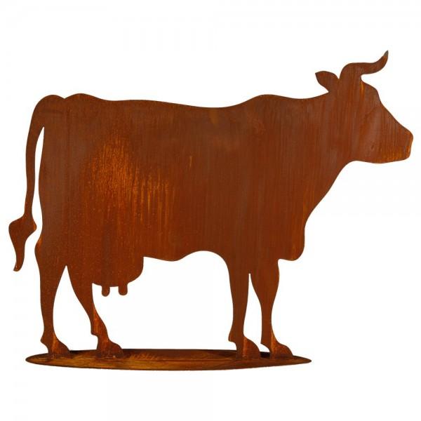 Kuh auf Platte Metall/Rosteffekt, 90 x 70 cm
