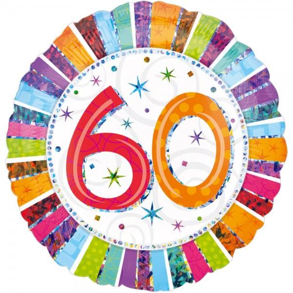 Folienballon Geburtstagszahl Zahl 60, Ø 45 cm