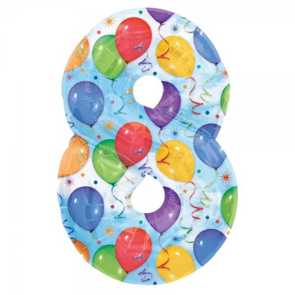 Folienballon XL Zahl bunte Ballons, Zahl 8