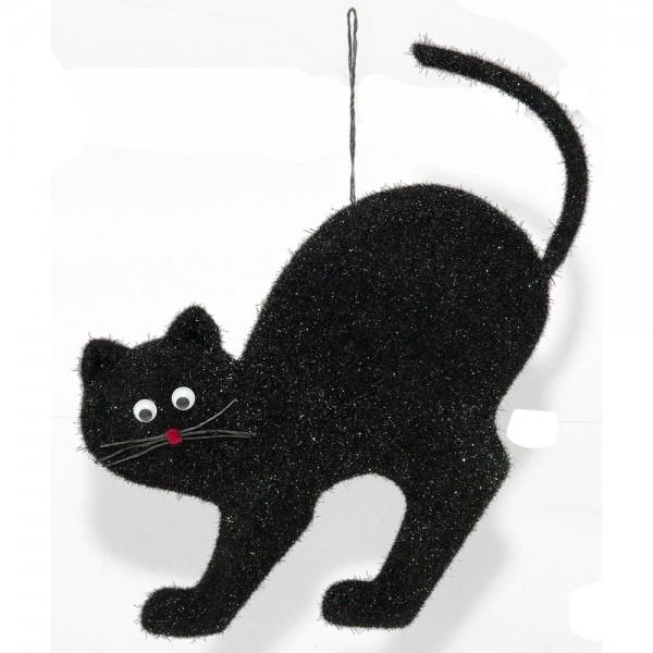 Schwarze Katze zum Hängen, 25 x 2,5 x 30 cm