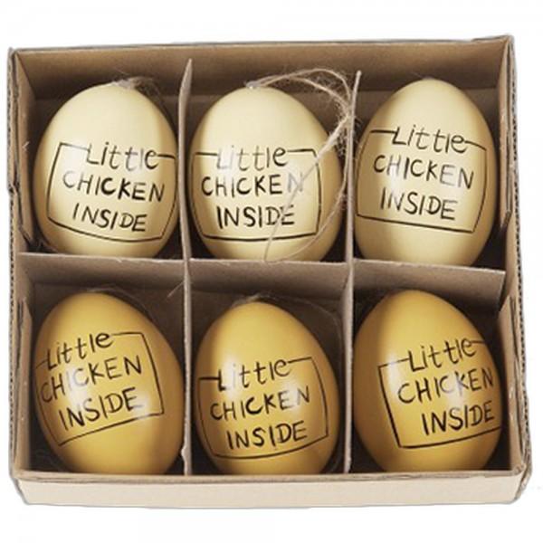6 Eier echt mit Aufdruck Little Chicken Inside