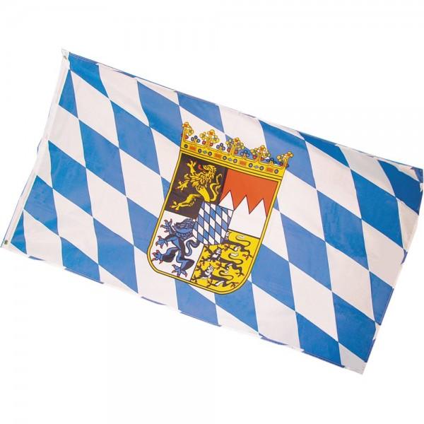 Flagge aus Stoff Bayern mit Wappen, 90 x 150 cm
