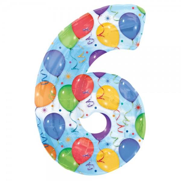 Folienballon XL Zahl bunte Ballons, Zahl 6