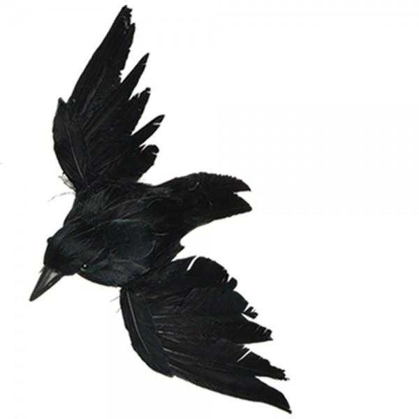 Krähe Tierattrappe fliegend schwarz, 55 x 30 cm