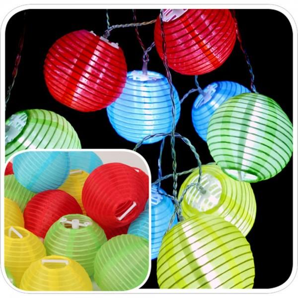 Mini Lampions 20 Stück Ø 8 cm grün-rot-gelb-blau, für 5 mm LED-Lichterketten