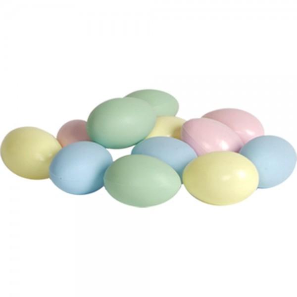 Eier Attrappen aus Kunststoff 12 Stück/1 Dutzend pastell/bunt