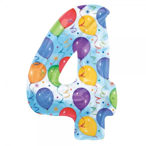 Folienballon XL Zahl bunte Ballons, Zahl 4
