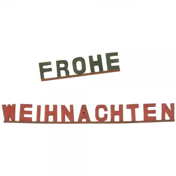 Holz-Schriftzug Frohe Weihnachten grün-rot, 49/105 cm