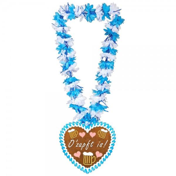 Bayern Hawaiikette O'zapft is Oktoberfest, blau-weiß, 50 cm