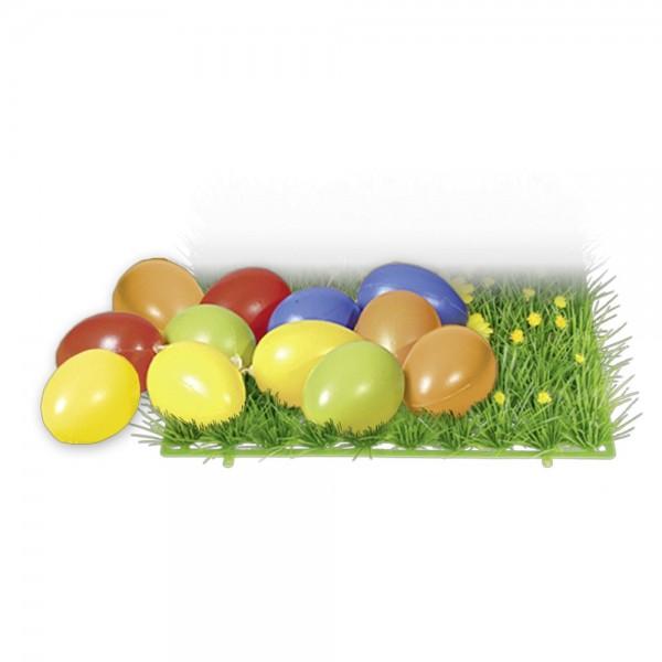 Bunte Eier aus Kunststoff 12 Stück je 6 cm