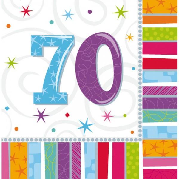 Servietten Geburtstagszahlen Zahl 70, 33 x 33 cm, 16 Stück