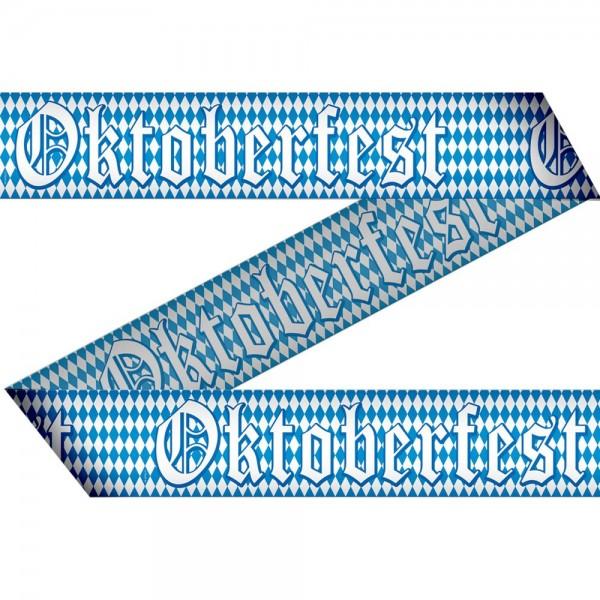 Absperrband Oktoberfest blau-weiß Rautendruck, 7,5 cm x 15 m