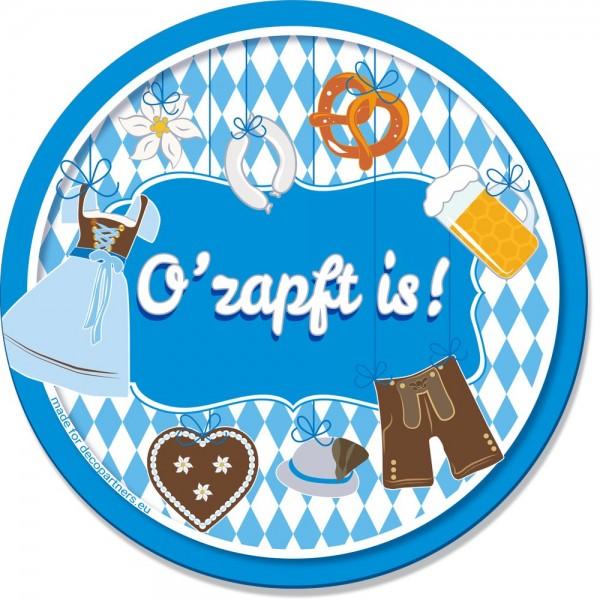 Bierdeckel Bayern Oktoberfest blau-weiß, 20 Stück, Ø 107 mm
