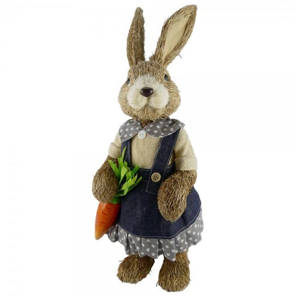 Hasenmädchen Figur mit Jeansrock, 53 cm